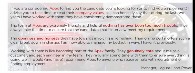 Exceptional Praise for Apex Consultants